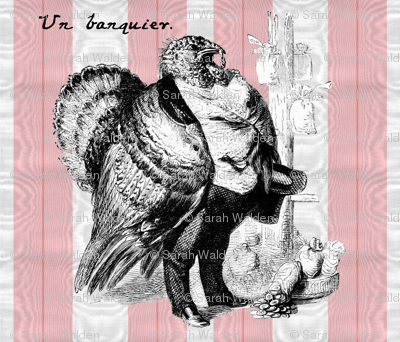 That Turkey Thinks He's Un Banquier ~ Cut and Sew Pillow