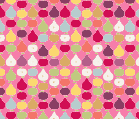 pomme_poire_fond_rose_M fabric by nadja_petremand on Spoonflower - custom fabric