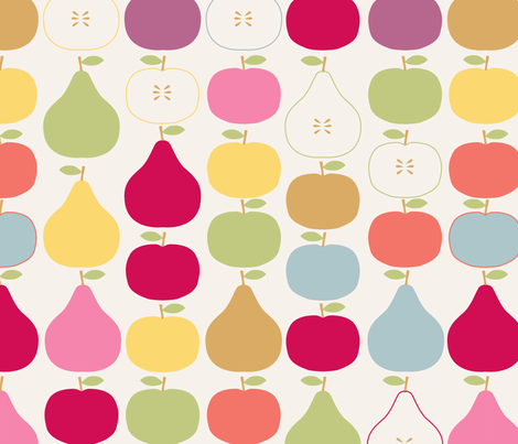 pomme_poire_fond_beige_L fabric by nadja_petremand on Spoonflower - custom fabric