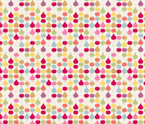 pomme_poire_fond_beige_S fabric by nadja_petremand on Spoonflower - custom fabric