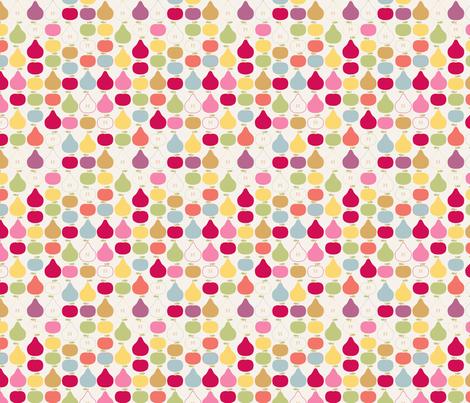 pomme_poire_fond_beige_S fabric by nadja_petremand on Spoonflower - custom fabric