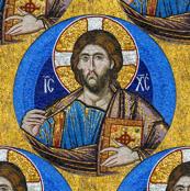 Byzantine Mosaic - Christ - round