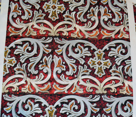 Byzantine mosaic  border - brick  - red
