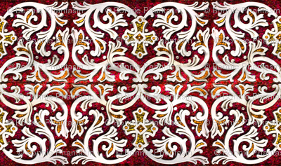 Byzantine mosaic  border - mirrored  - red