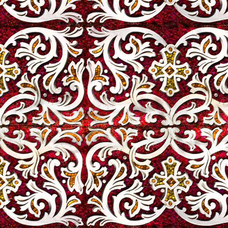 Byzantine mosaic  border - mirrored  - red fabric by bonnie_phantasm on Spoonflower - custom fabric