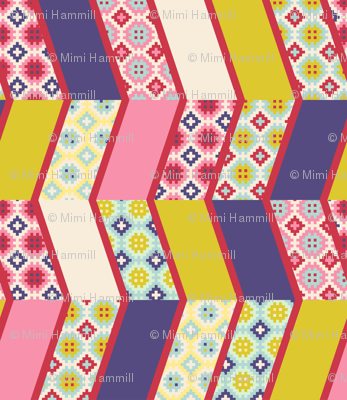 Springtime chevrons cheater quilt