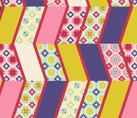 Springtime chevrons cheater quilt fabric by mimihammill on Spoonflower - custom fabric