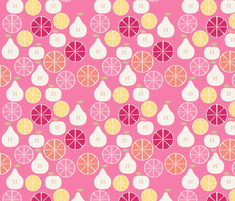 pomme_poire_orange_rose_S fabric by nadja_petremand on Spoonflower - custom fabric