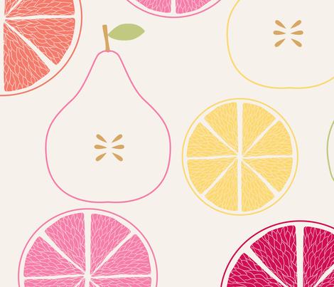 pomme_poire_orange_beige_L fabric by nadja_petremand on Spoonflower - custom fabric