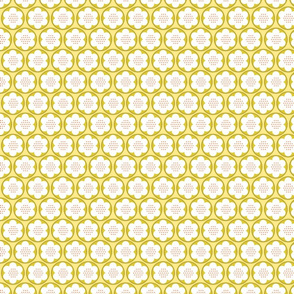 Spring Blooms Gold Dotty Flowers