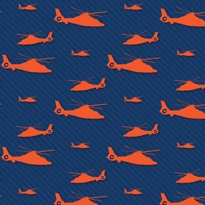 Orange Helicopter with Subtle Navy Stripes