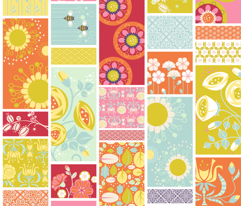 Spring Blooms Cheater Quilt_4InVert fabric by robinpickens on Spoonflower - custom fabric