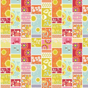 Spring Blooms Cheater Quilt_2InVert