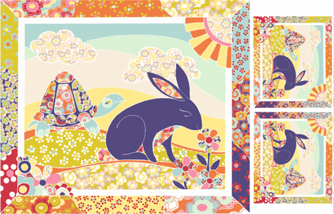 Spring Hare Cheater Quilt ( yard sized) fabric by ceanirminger on Spoonflower - custom fabric