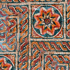 Byzantine meandering mosaic - red