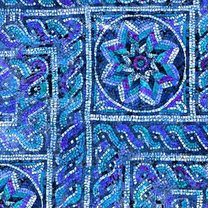 Byzantine meandering mosaic - Blue