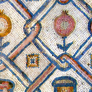 Byzantine flowers and vessels mosaic