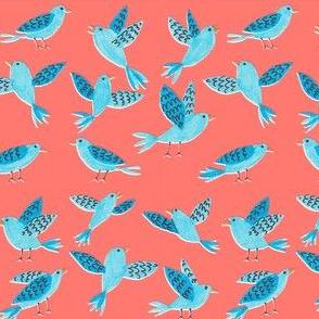 Bluebirds - coral