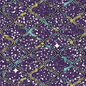 Twilight in a patterned Moroccan quatrefoil