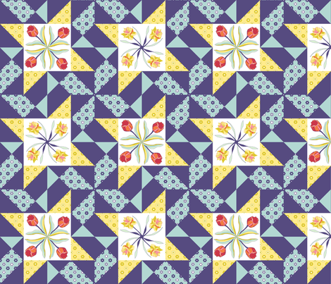 tulips_and_daffodils quilt block_AABB13 fabric by khowardquilts on Spoonflower - custom fabric