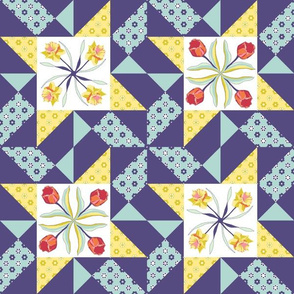 tulips_and_daffodils quilt block_AABB13