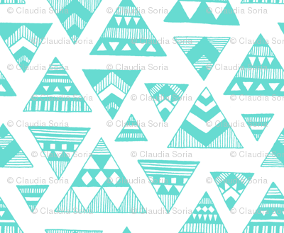 Aztec Triangles - Aqua