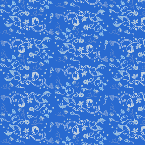 Pretty Blue Traditional Floral © Gingezel™