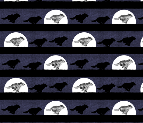 running wolf steampunk stripe fabric by glimmericks on Spoonflower - custom fabric