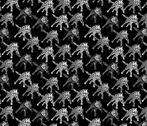 steampunk wolfpack on black fabric by glimmericks on Spoonflower - custom fabric