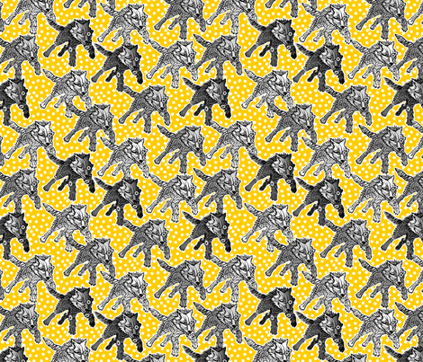 steampunk wolfpack yellow snow fabric by glimmericks on Spoonflower - custom fabric