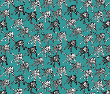 steampunk wolfpack on_teal fabric by glimmericks on Spoonflower - custom fabric