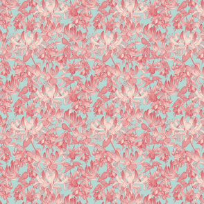 Busy Floral - Pink and Blue