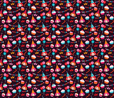 Happy birthday girls and cupcakes party fabric by littlesmilemakers on Spoonflower - custom fabric