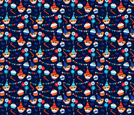 Happy birthday monkey and cupcakes fabric by littlesmilemakers on Spoonflower - custom fabric
