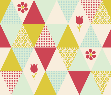triangles_flowers_cheater_quilt fabric by oohoo on Spoonflower - custom fabric