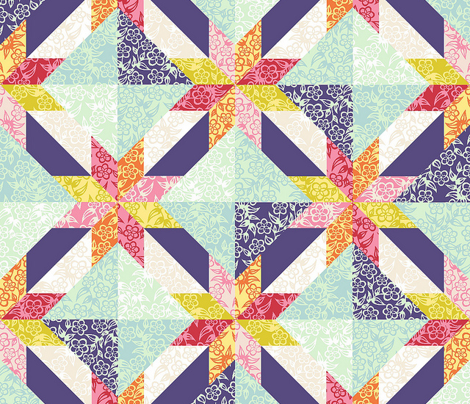 Lotus_Blossom Cheater Quilt Top