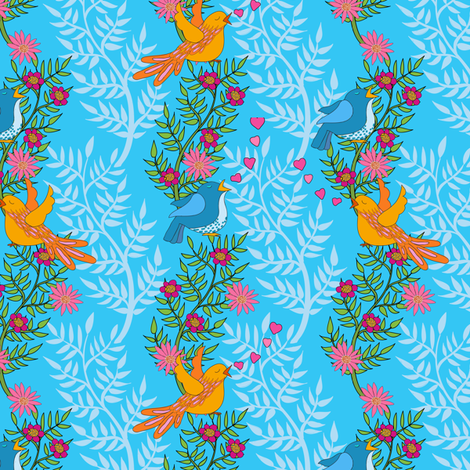 birdie_floral_high_turquoise-1 fabric by shellypenko on Spoonflower - custom fabric