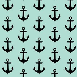anchor - Black on sea blue