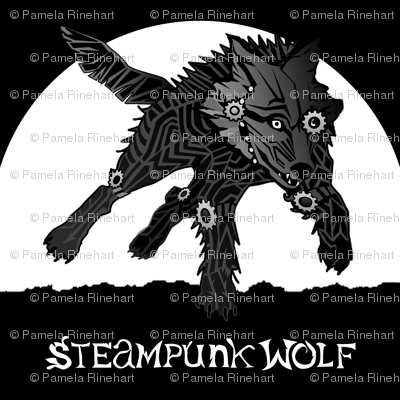 LOGO steampunk wolf BLACK WOLF 2 yards centered