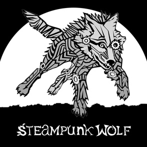 LOGO steampunk wolf GRAY WOLF 2 yards centered