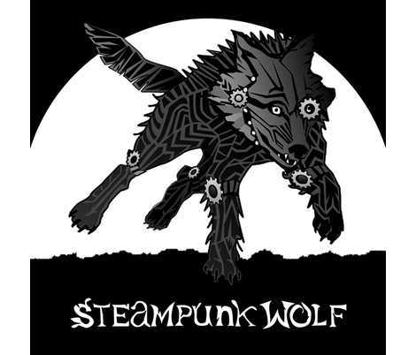 LOGO steampunk wolf BLACK WOLF 1 yard centered fabric by glimmericks on Spoonflower - custom fabric