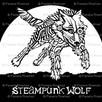 LOGO steampunk wolf WHITE WOLF 1 yard centered