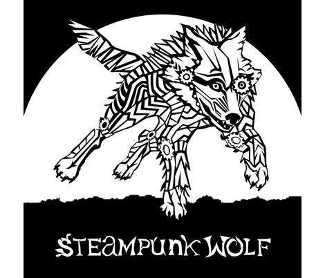 LOGO steampunk wolf WHITE WOLF 1 yard centered fabric by glimmericks on Spoonflower - custom fabric
