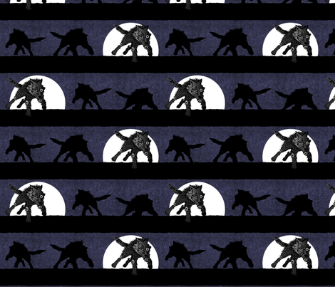 steampunk wolf running stripe midnight thunder fabric by glimmericks on Spoonflower - custom fabric