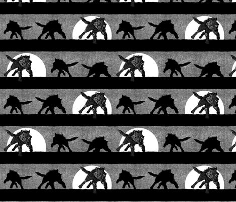 steampunk wolf running stripe gray fabric by glimmericks on Spoonflower - custom fabric