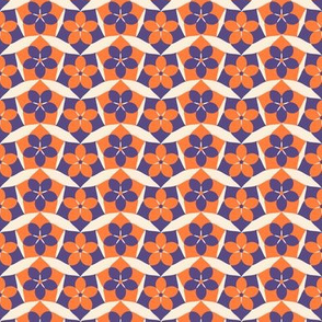 Orange and Purple Waves  -Spring Floral Quilt Block Coordinate