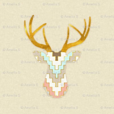 Telluride Deer Silhouette in Aqua, Coral and Gold Dust