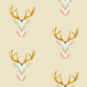 Telluride Deer in Aqua and Coral