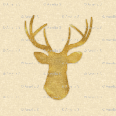 Deer Silhouette in Gold Dust