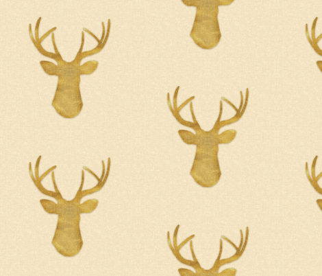 Deer Silhouette in Gold Dust fabric by willowlanetextiles on Spoonflower - custom fabric